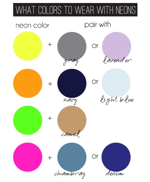 what colors to wear with neons