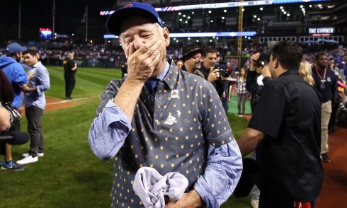 CLEVELAND, OH - NOVEMBER 02: Actor Bill Murray reacts on the field after the Chicago Cubs defeated the Cleveland Indians 8-7 in Game Seven of the 2016 World Series at Progressive Field on November 2, 2016 in Cleveland, Ohio. The Cubs win their first World Series in 108 years. (Photo by Ezra Shaw/Getty Images) ORG XMIT: 678125603 ORIG FILE ID: 620750626