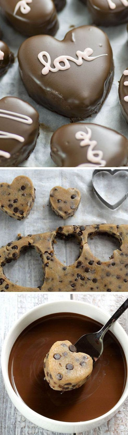 Perfect Valentines day treat - Chocolate Chip Cookie Dough Valentine's Hearts are irresistible cupid inspired dessert.